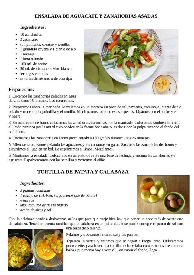 Ensalada de aguacate y zanahorias asadas, tortilla de patata y calabaza y calabaza y patata al horno1