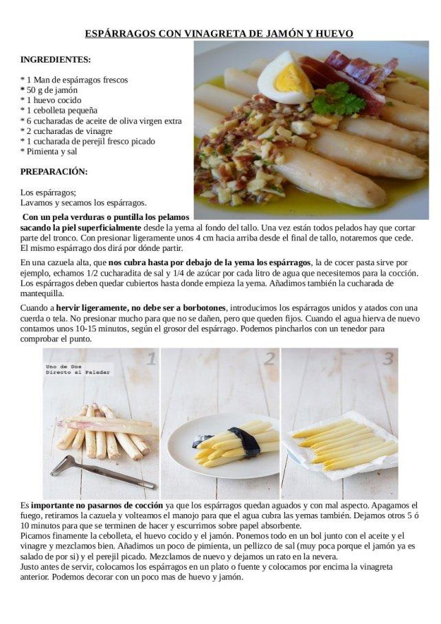 Espárragos con vinagreta de jamón y huevo