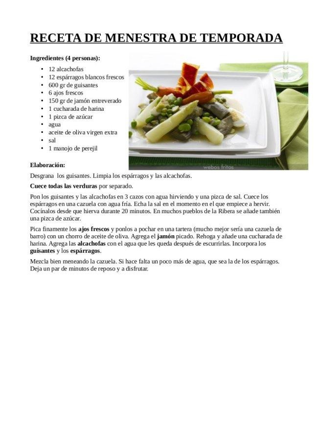 Menestra guisante, alcachofa y espárragos blancos