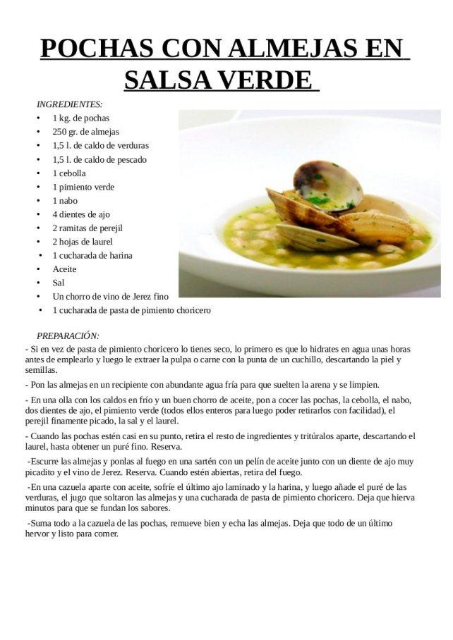 Pochas con almejas en salsa verde