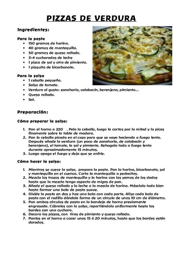 pizzas de verdura