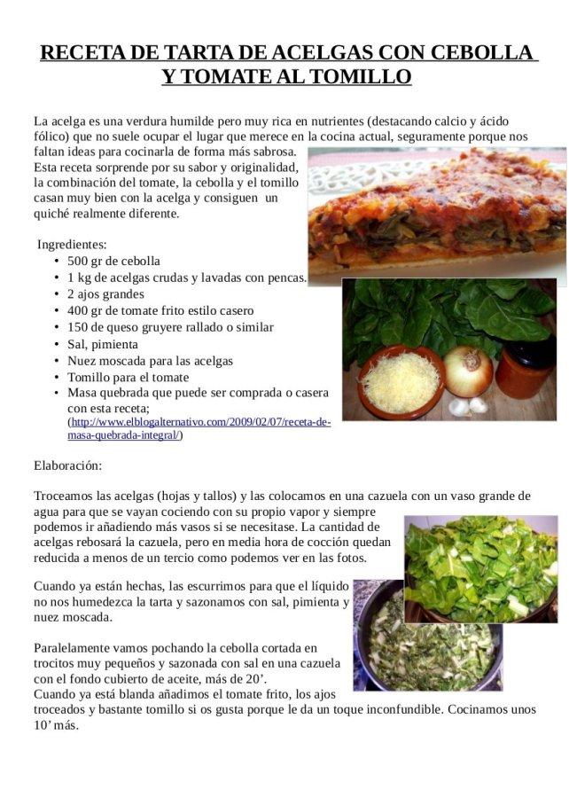 Tarta de acelga, cebolla y tomate y tortila de acelgas y cebolla