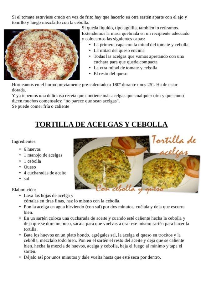 Tarta de acelga, cebolla y tomate y tortila de acelgas y cebollaB