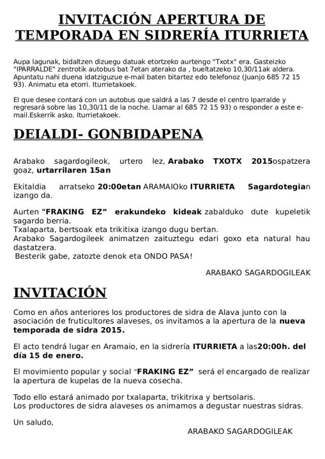 Invitación sidreria iturrieta
