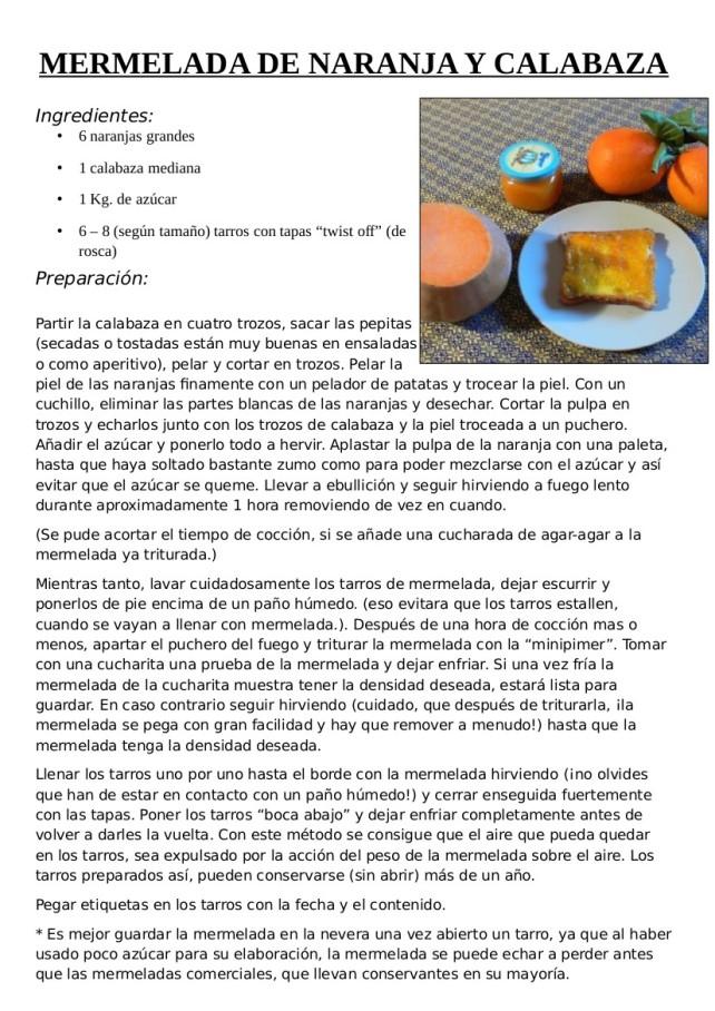 Mermelada Naranja y calabaza
