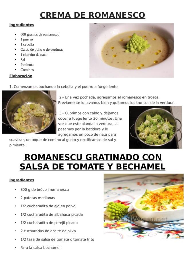 2 recetas de romanescu