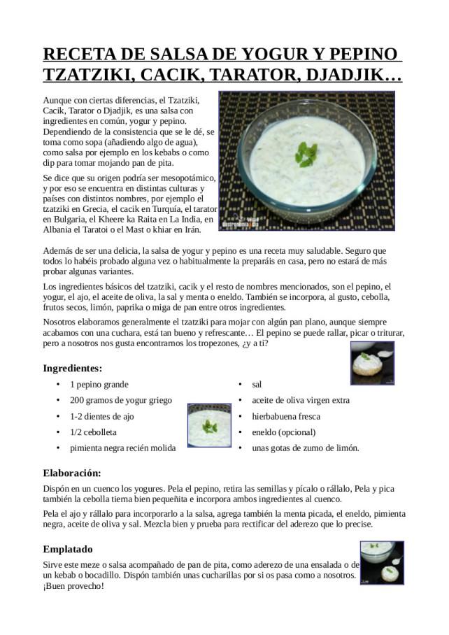 Salsa de yogurt y pepino y  Melocotones caramelizados con yogurt griego
