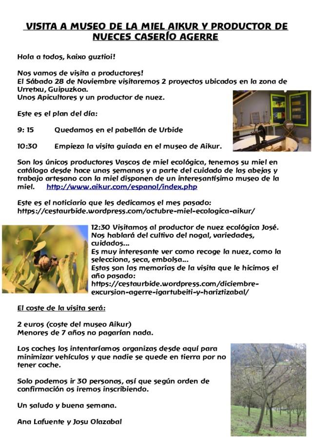 VISITA 28 DE NOVIEMBRE AIKUR Y AGERRE BASERRIA